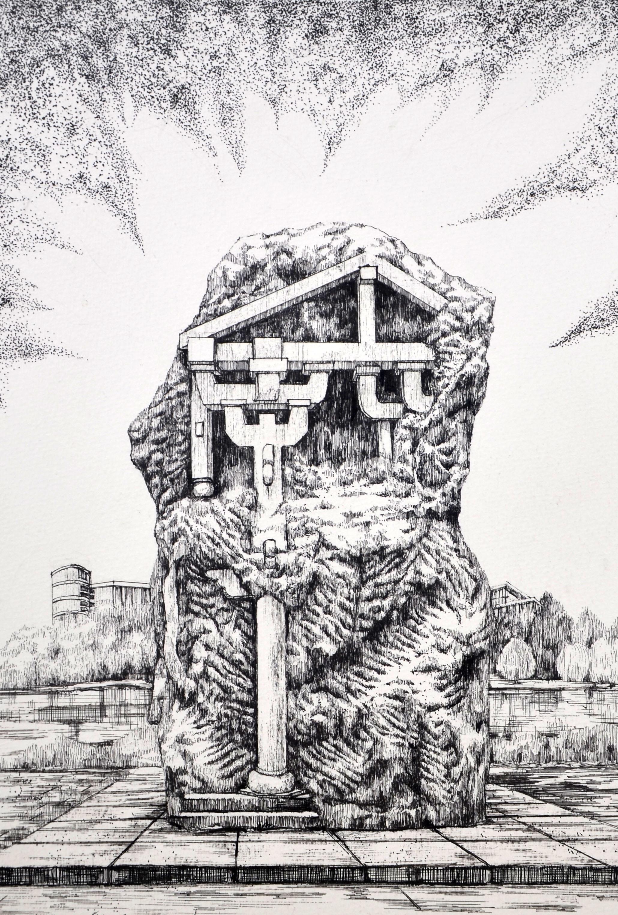 雕塑效果图  手绘
