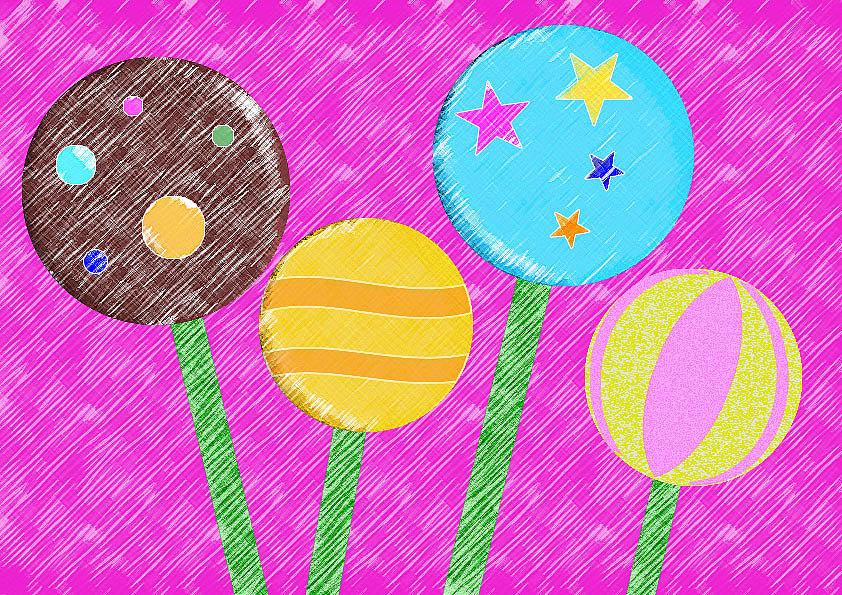 儿童画-棒棒糖       图片