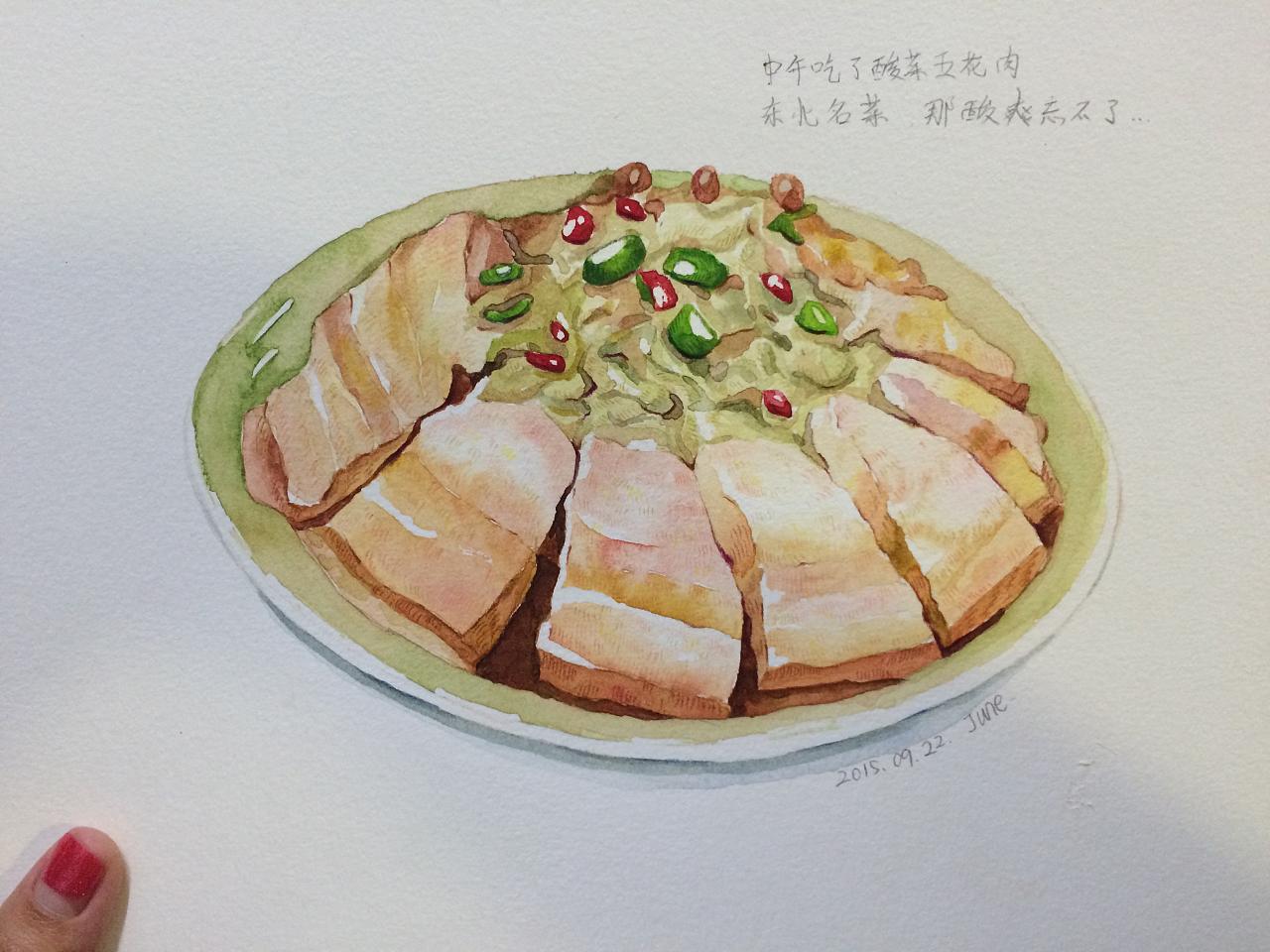 手绘水彩美食~酸菜五花肉