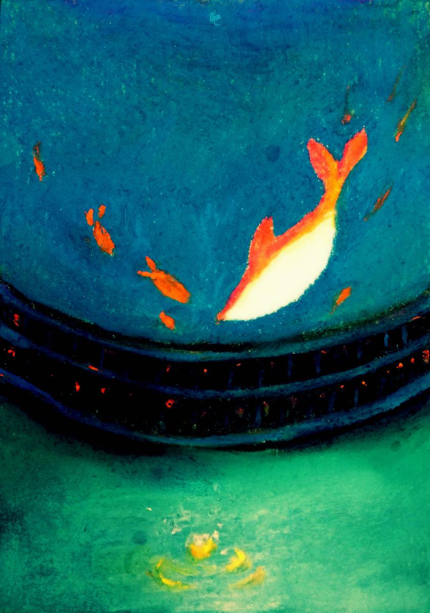 《大鱼·海棠》手绘明信片,参考取材大·海的一副图