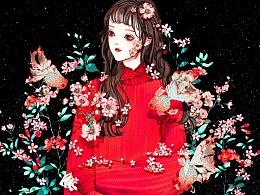黑色背景少女系列壁纸