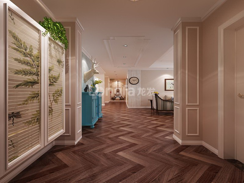 长久中心a4户型168平美式风格主卧室效果图:主卧室蓝色的窗帘和白色