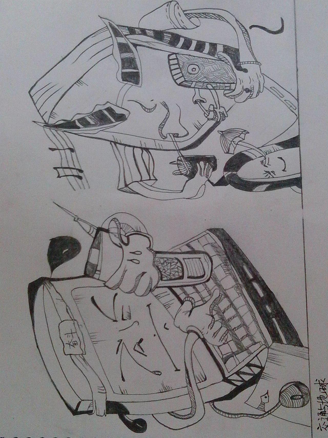 素描和彩色铅笔画