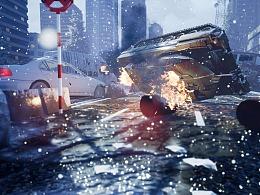 虚幻4(UE4)场景练习作品----狂乱之后的街道