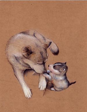 动物亲子手绘系