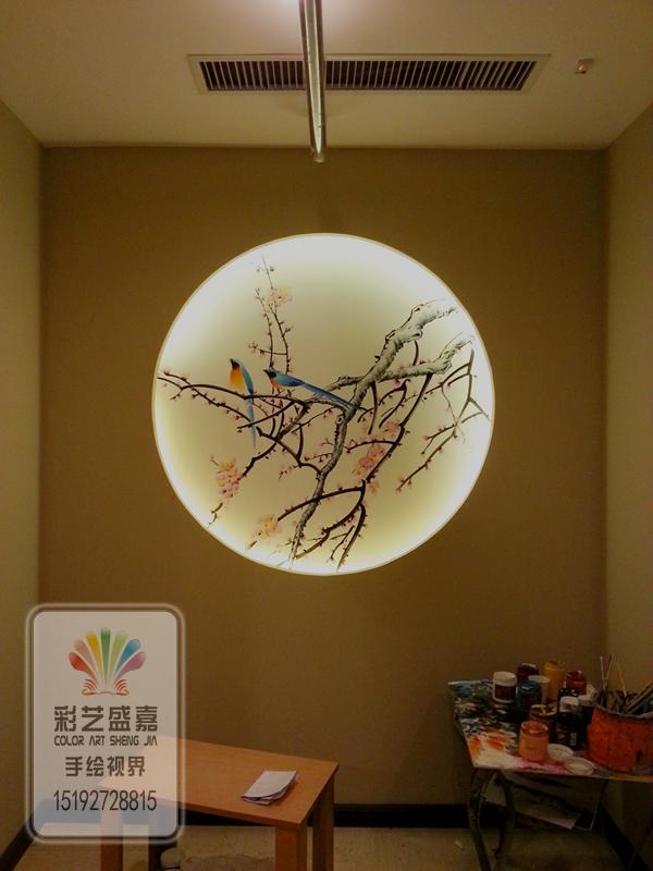 青岛国画手绘墙之青岛英子足道保健会所墙绘作品