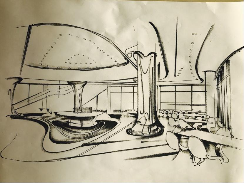 室内设计手绘线稿|空间|室内设计|大椿子 - 原创作品