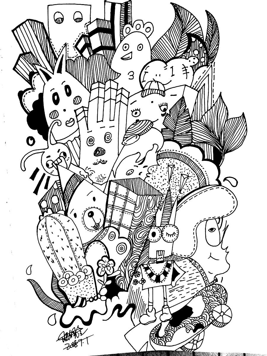黑白画|钢笔画|纯艺术|陆佩兰 - 原创设计作品 - 站酷图片