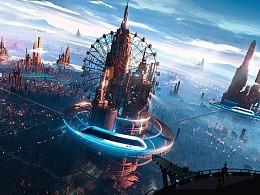 """比亚迪""""筑梦云端,城就未来""""创意插画绘制"""
