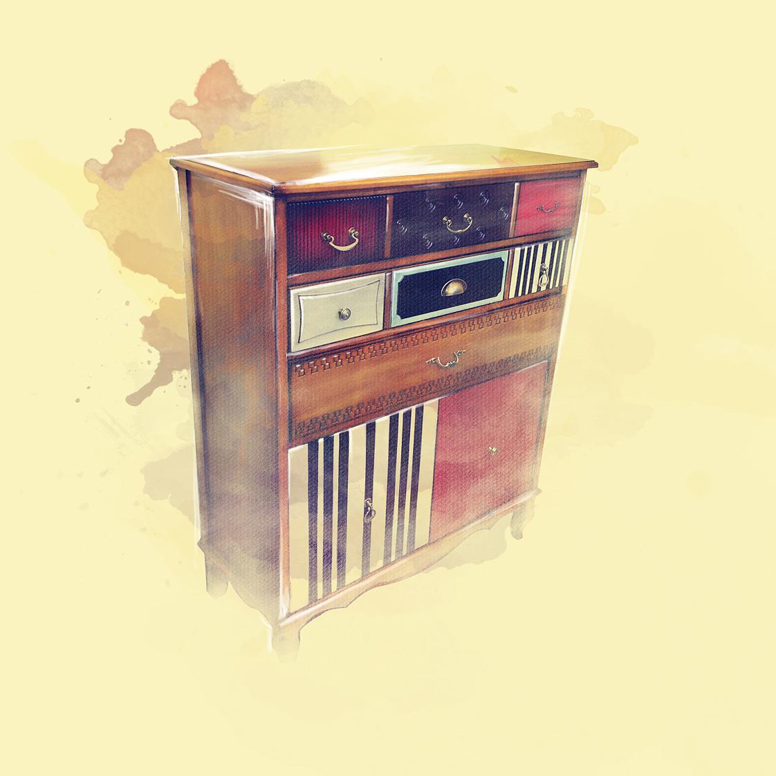 手绘复古家具