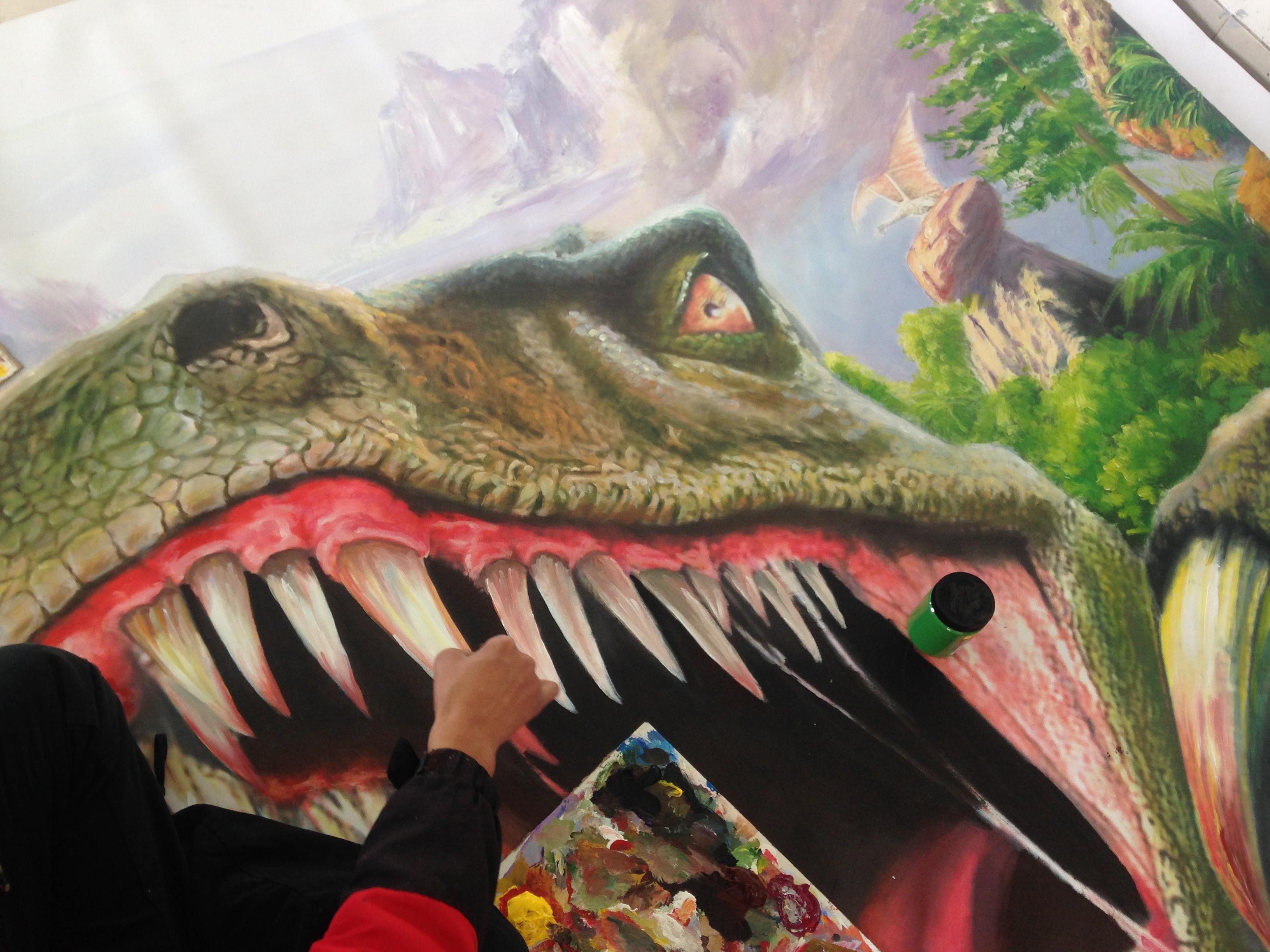 上海纯手绘3d立体画《恐龙归来》