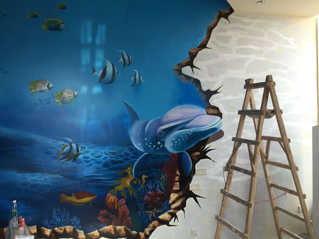由川美墙绘精心绘制,以海洋概念打造的主题酒店图片