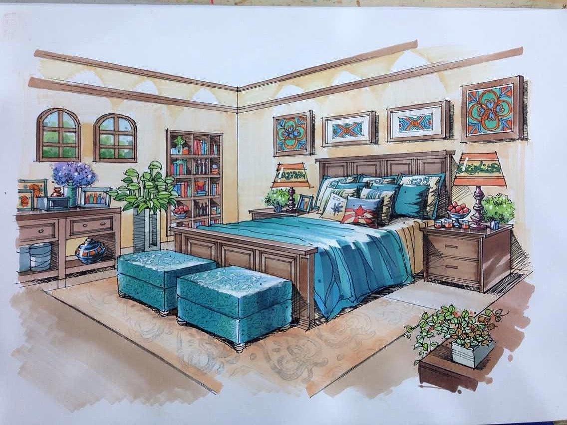 手绘别墅设计|空间|室内设计|陈孟娜336699 - 原创