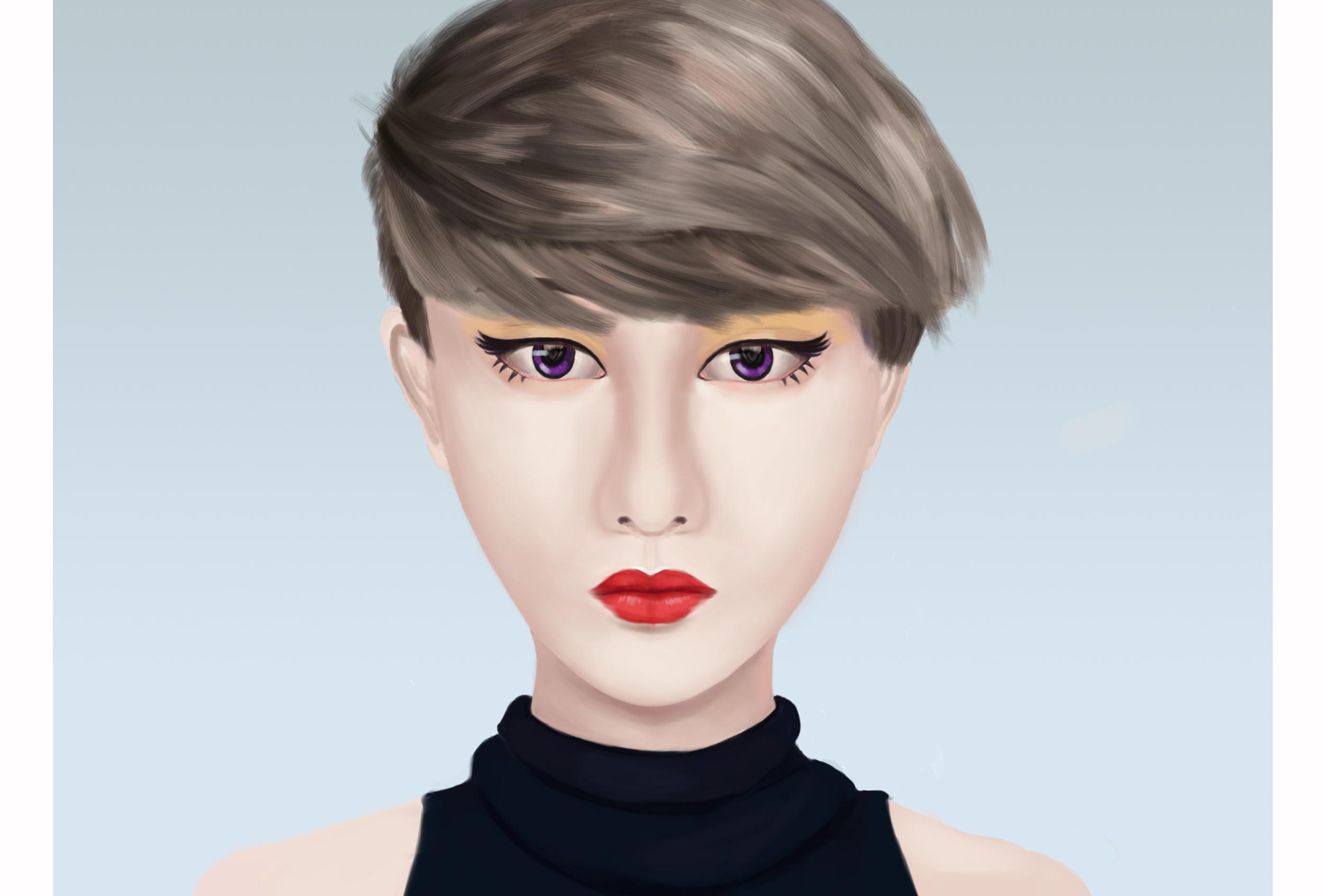 [手绘练习] 短发女生