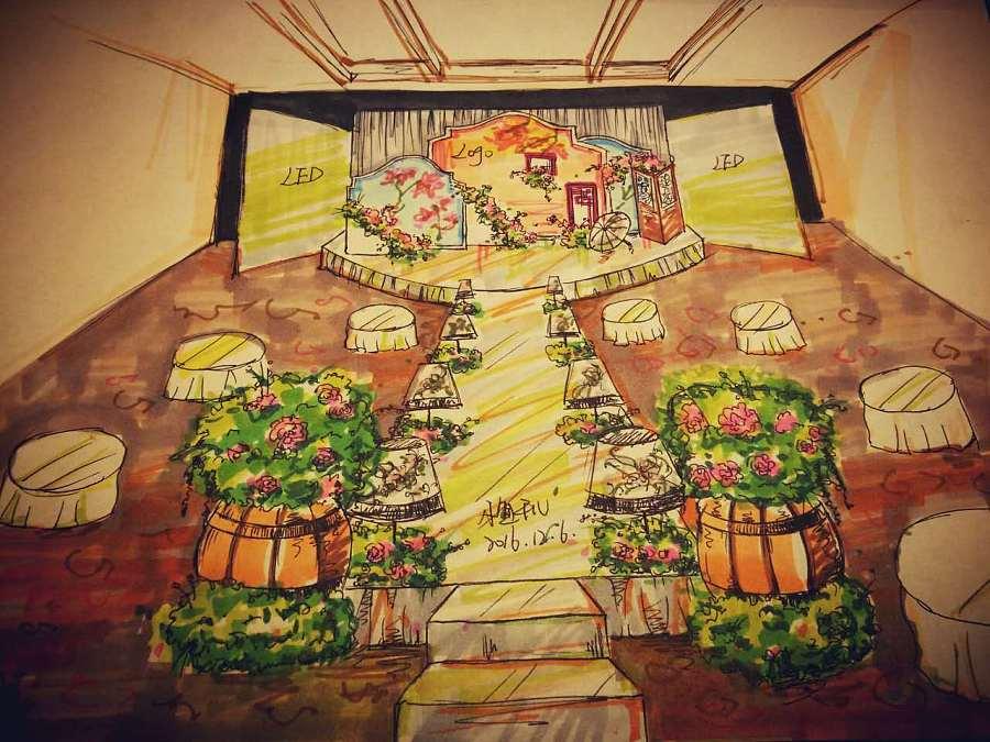 烟雨江南主题婚礼设计手绘稿