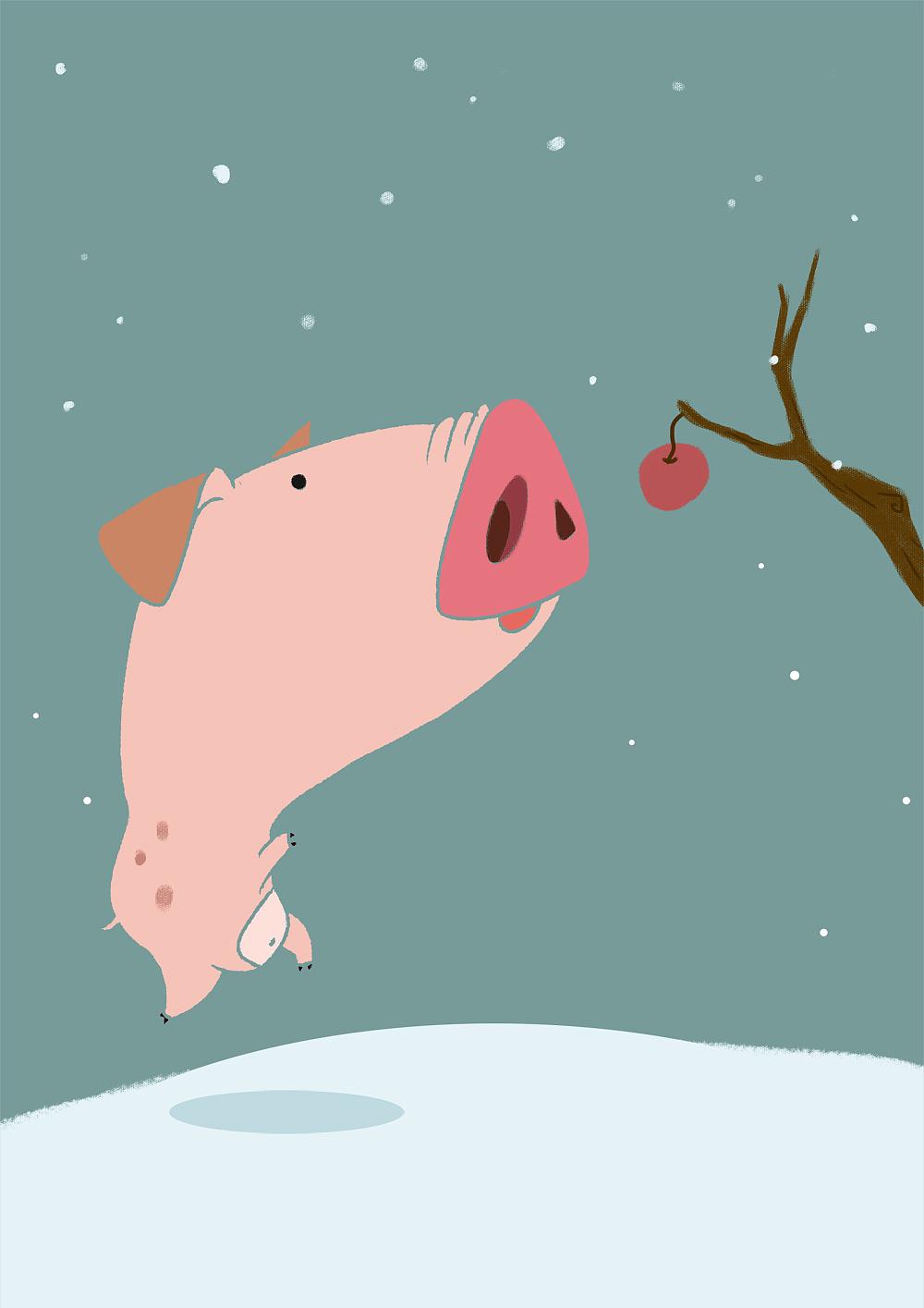 猪年画猪之---希望图片