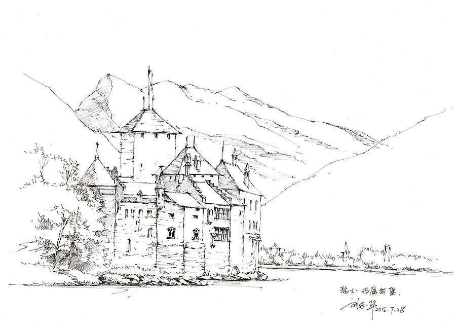 手绘欧洲风景-线稿|绘画习作|插画|craftsman