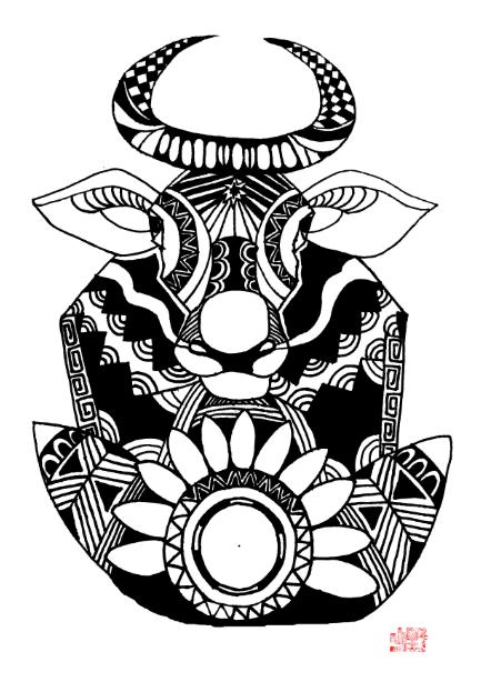 十二星座黑白插画