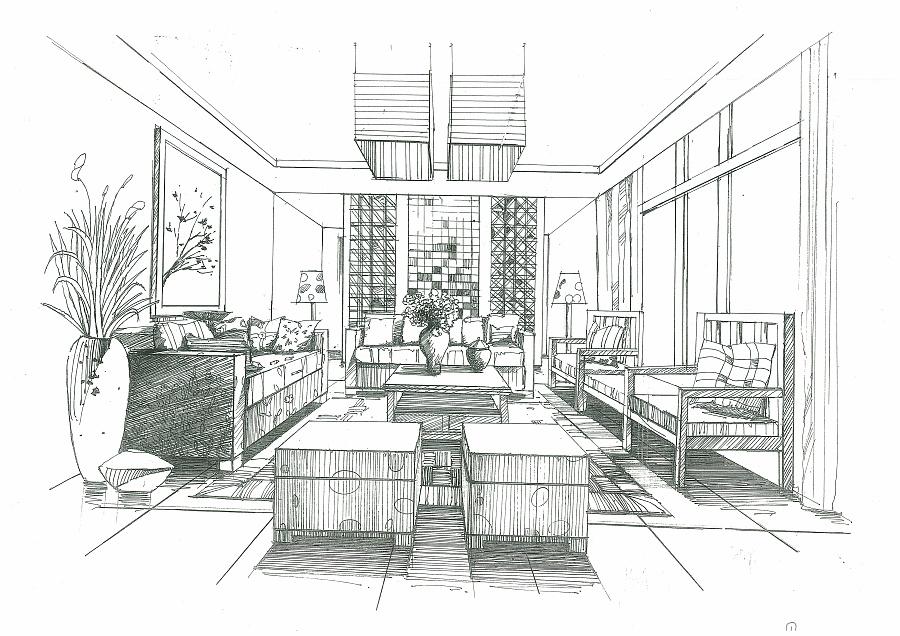 室内空间手绘作品|室内设计|空间/建筑|198948