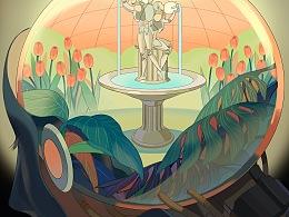 AI海报-Fountain喷泉(附过程)