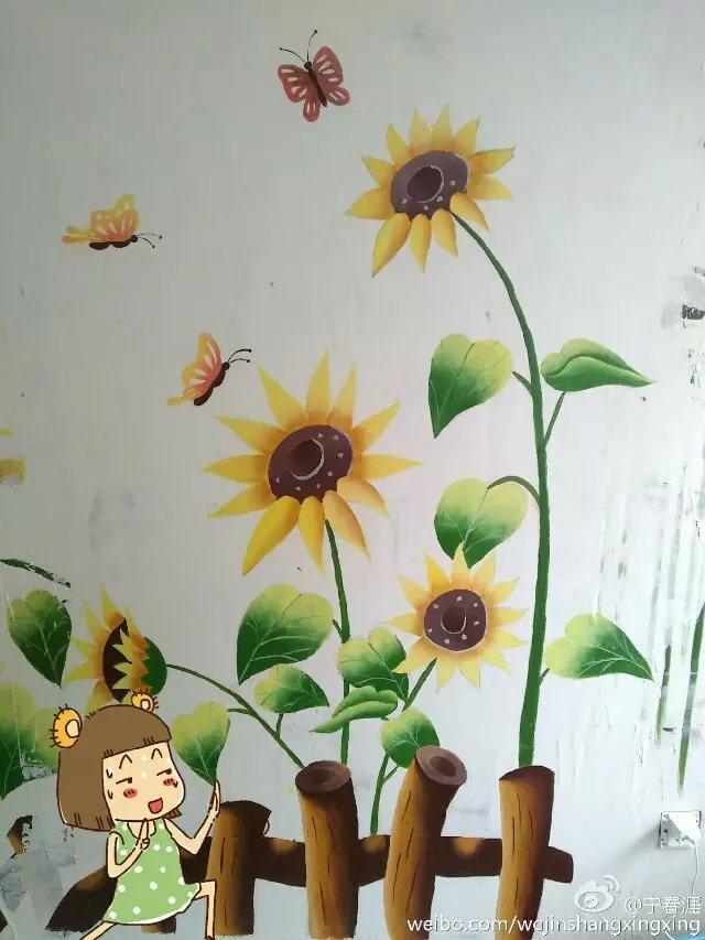 墙绘荷花矢量图