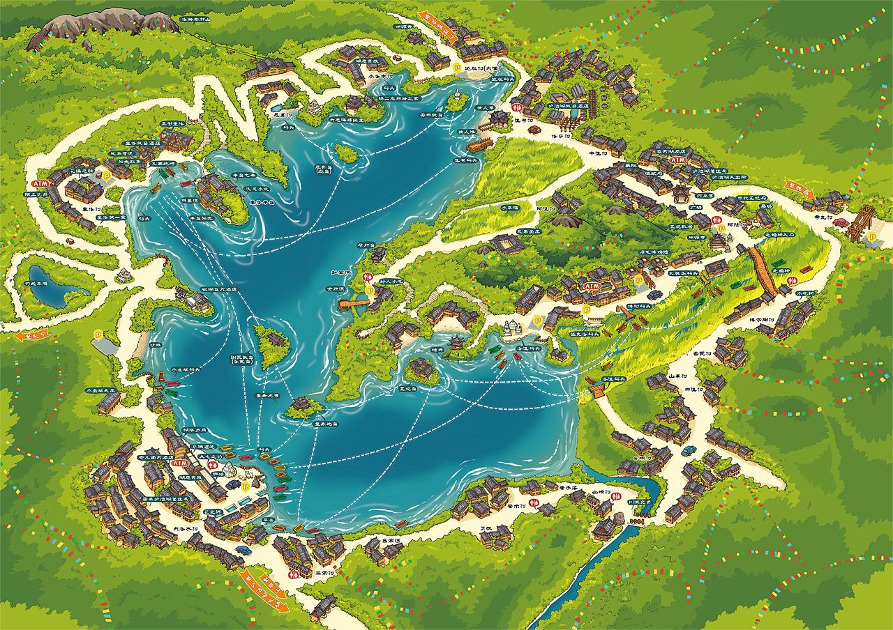 泸沽湖手绘地图