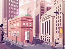 金融城市插图