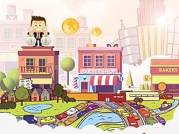 地产商业商铺 商业街 吸金 卡通