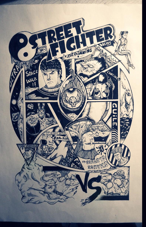为街霸4画的黑白手绘复古海报.