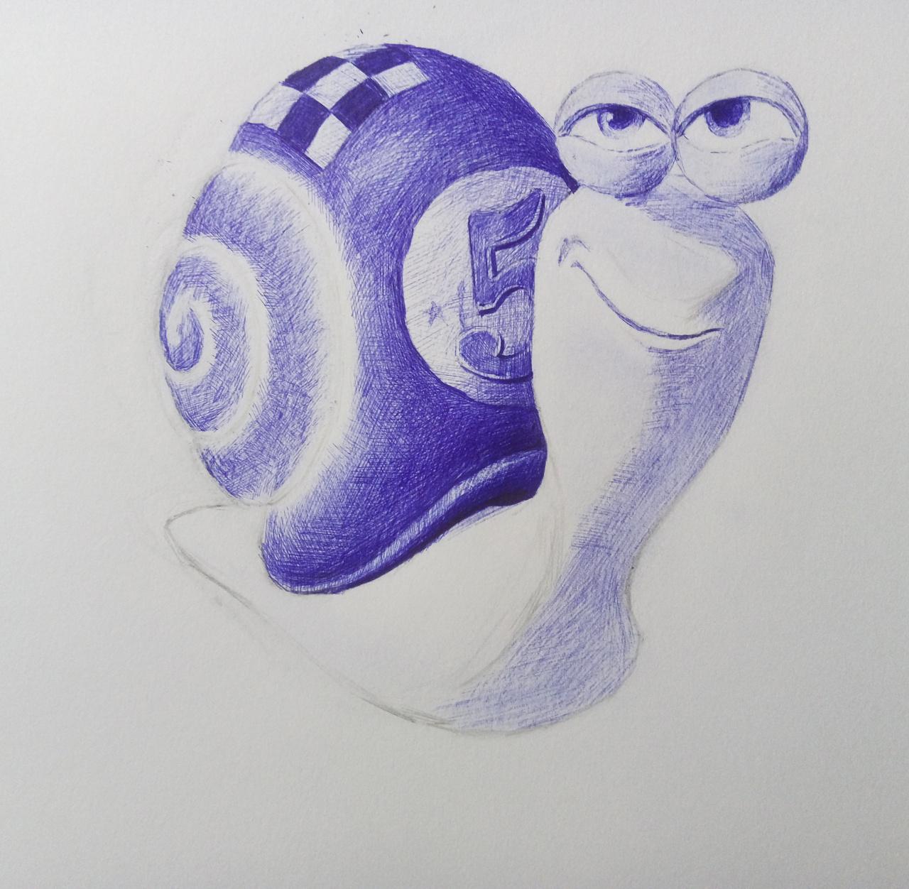 圆珠笔手绘极速蜗牛