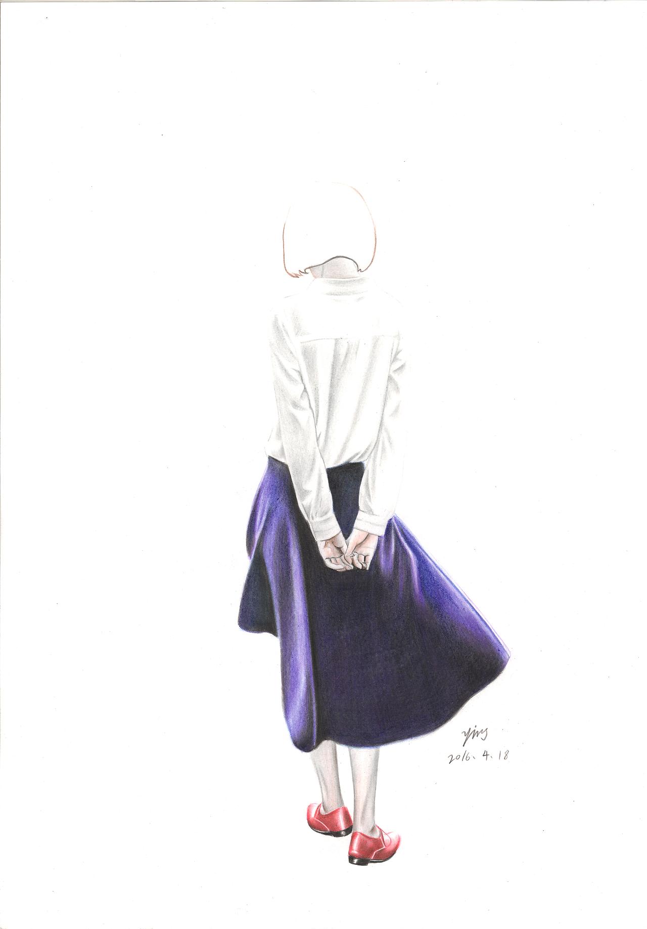背影系列|纯艺术|彩铅|ying先生 - 原创作品 - 站酷