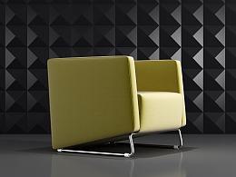 现代简约布艺沙发模型