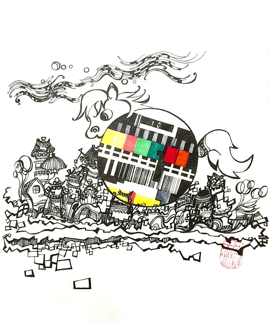 复古黑白手绘插画建筑上海