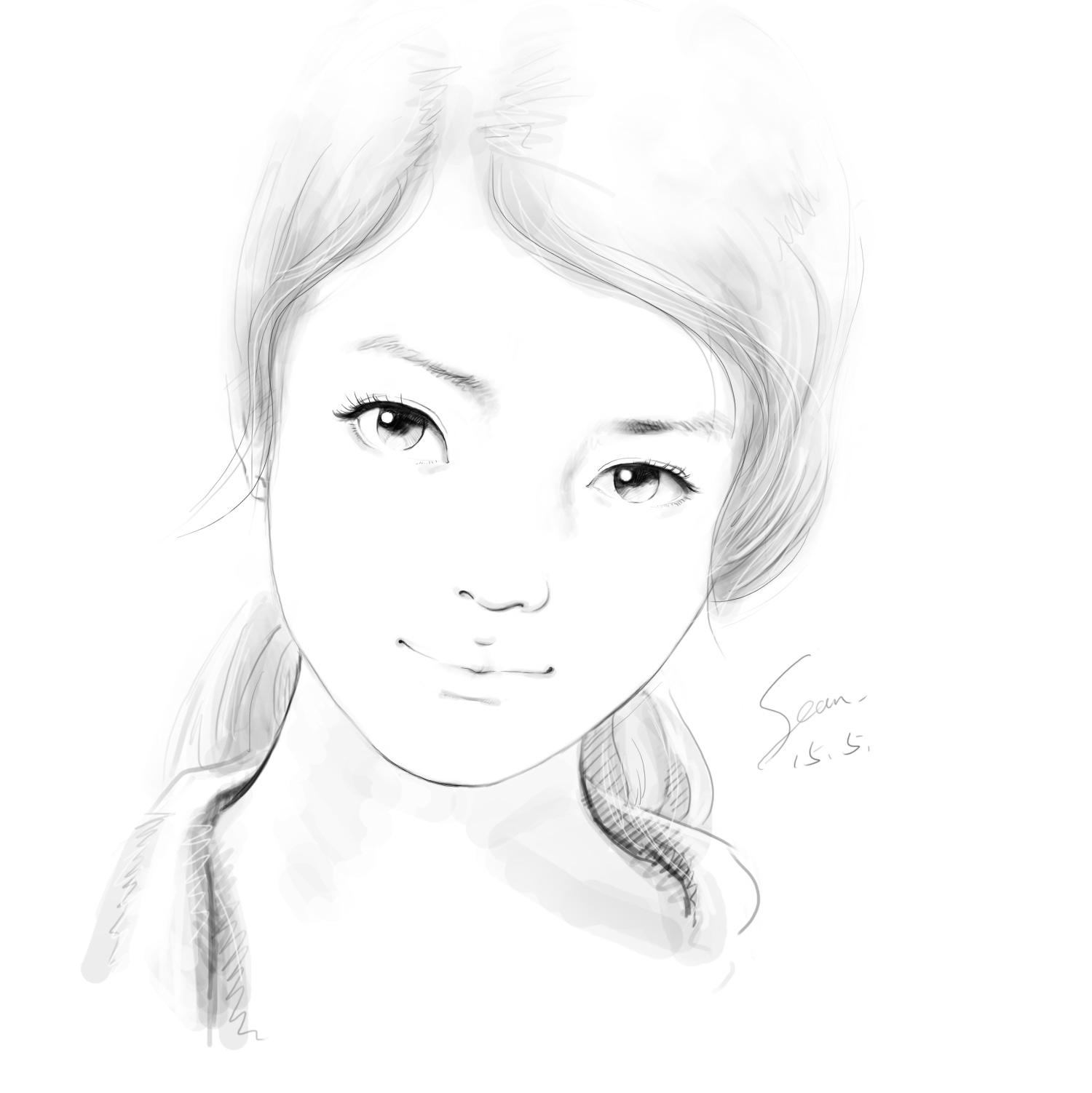 手绘女生头像
