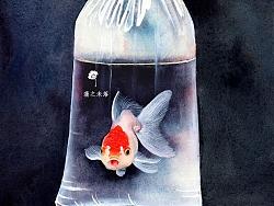 水彩绘一小金鱼
