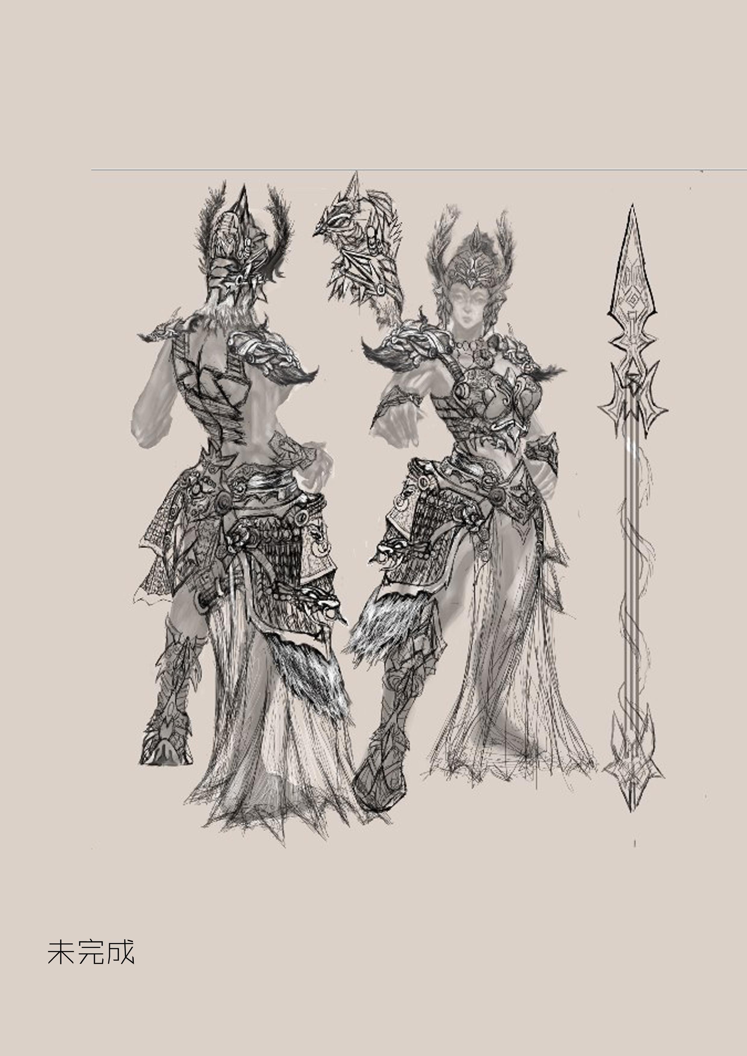 女 战士 装备 武器 人物设定 原画设计 npc 游戏原画 手绘
