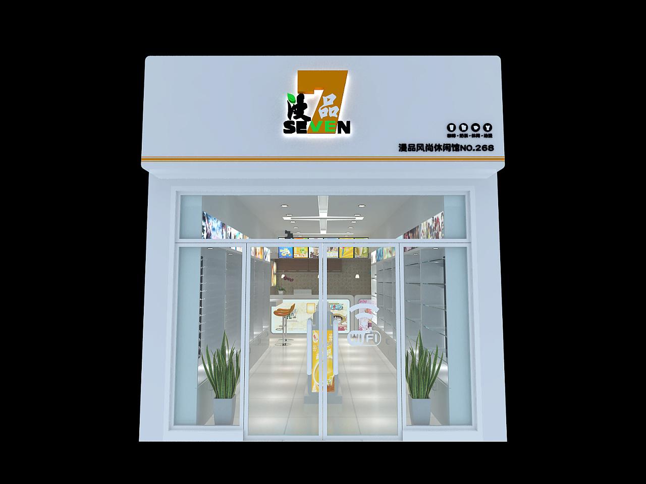 3d效果图饮品店甜品店动漫店店铺装修店面室内设计图