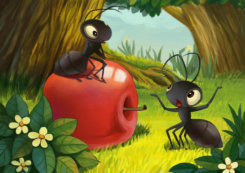 小儿童搬核桃|油条|插画插画|苹果蚂蚁虾-原创菠萝饼怎么做好吃图片