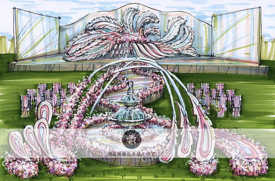 【婚礼手绘】纸面手绘—户外仪式区效果图|舞台美术