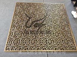 欧美风拉丝钛金铝艺雕刻镂空屏风隔断款式大气