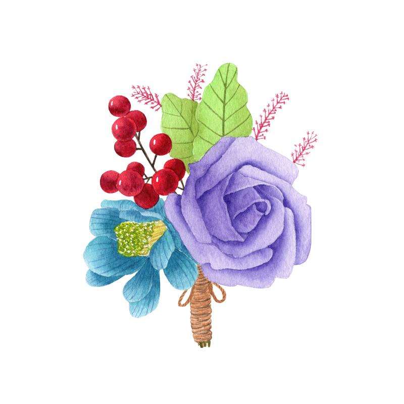水彩画韩式胸花图片