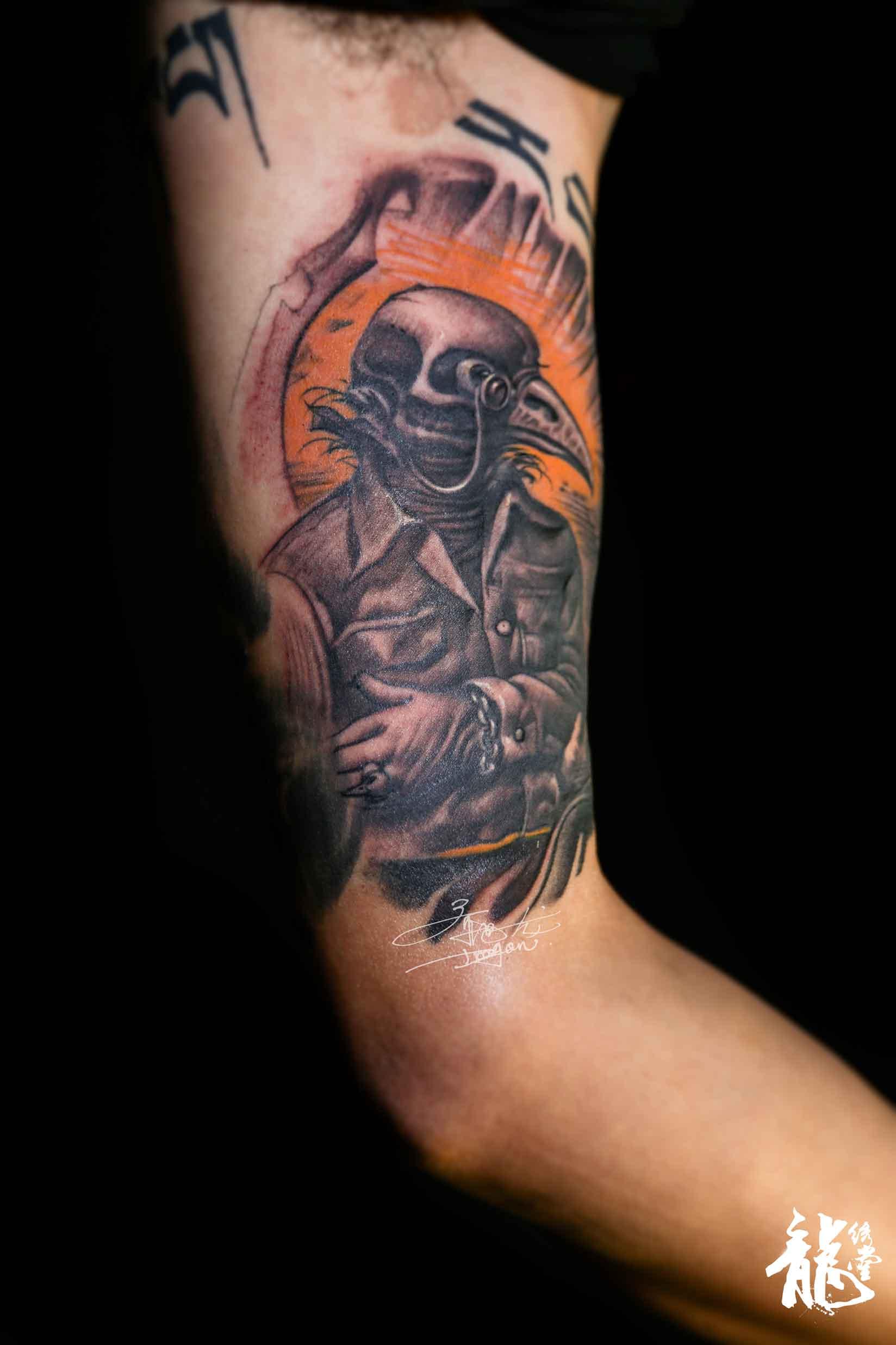 创意小臂鸟人纹身刺青|手工艺|手办/原型|龙绣堂刺青