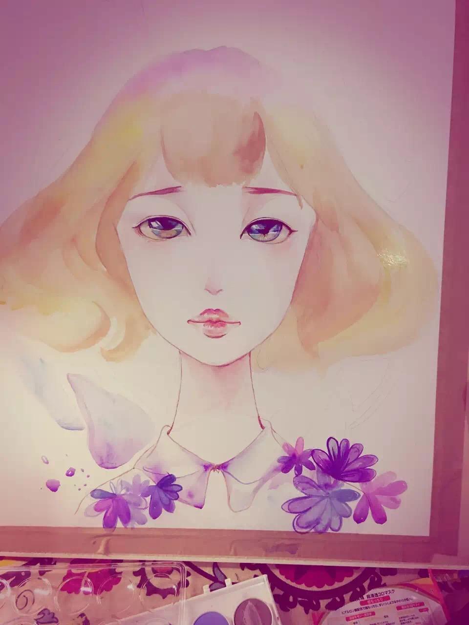 水彩手绘,水彩插画,装饰画,水彩手绘女孩