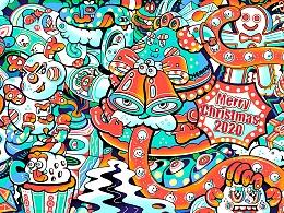 圣诞快乐,牛年大吉,海底世界三个主题插画