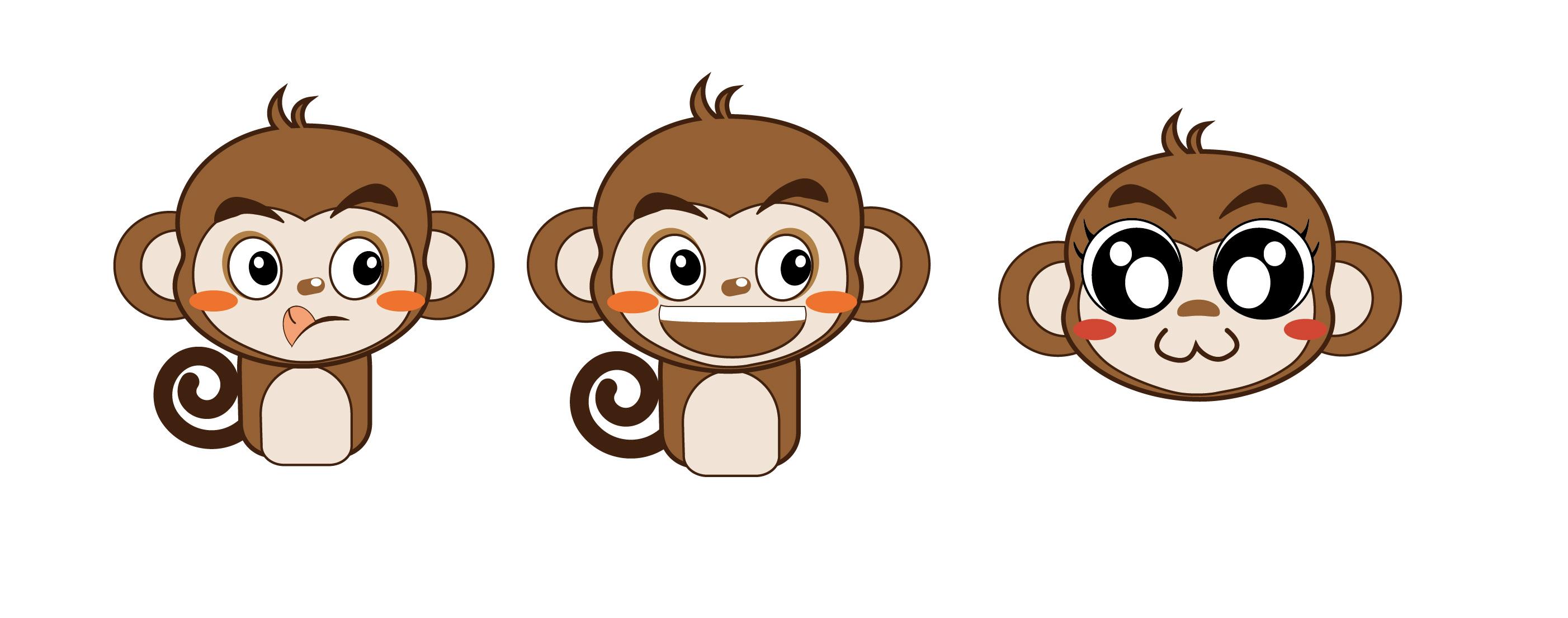 卡通小猴子吉祥物练习,上传了原文件,有