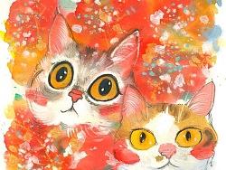 一组水墨猫咪