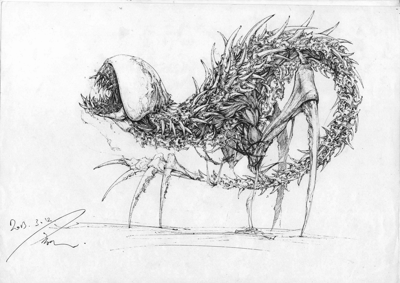 中性笔手绘怪物设计
