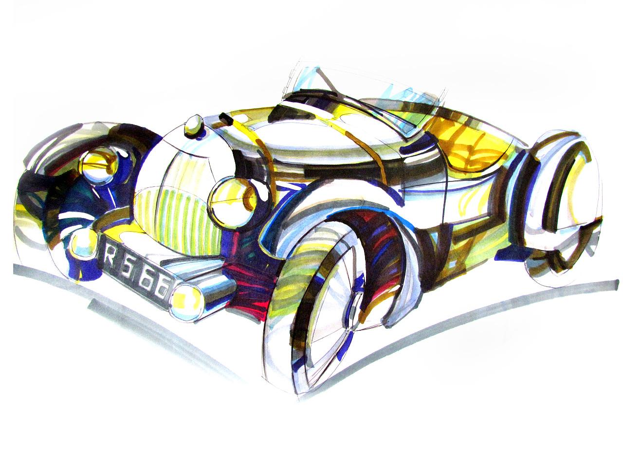 马克笔手绘:汽车马克笔手绘