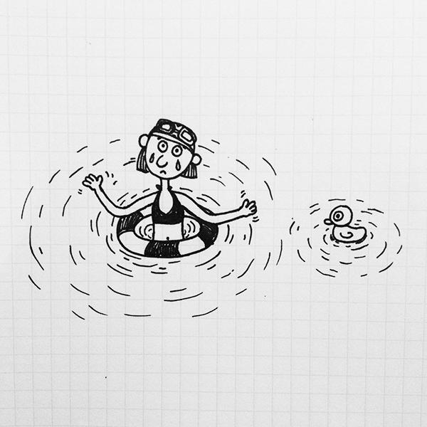 游泳简笔画 夏天游泳的简笔画图片 火柴人游泳图片简笔画
