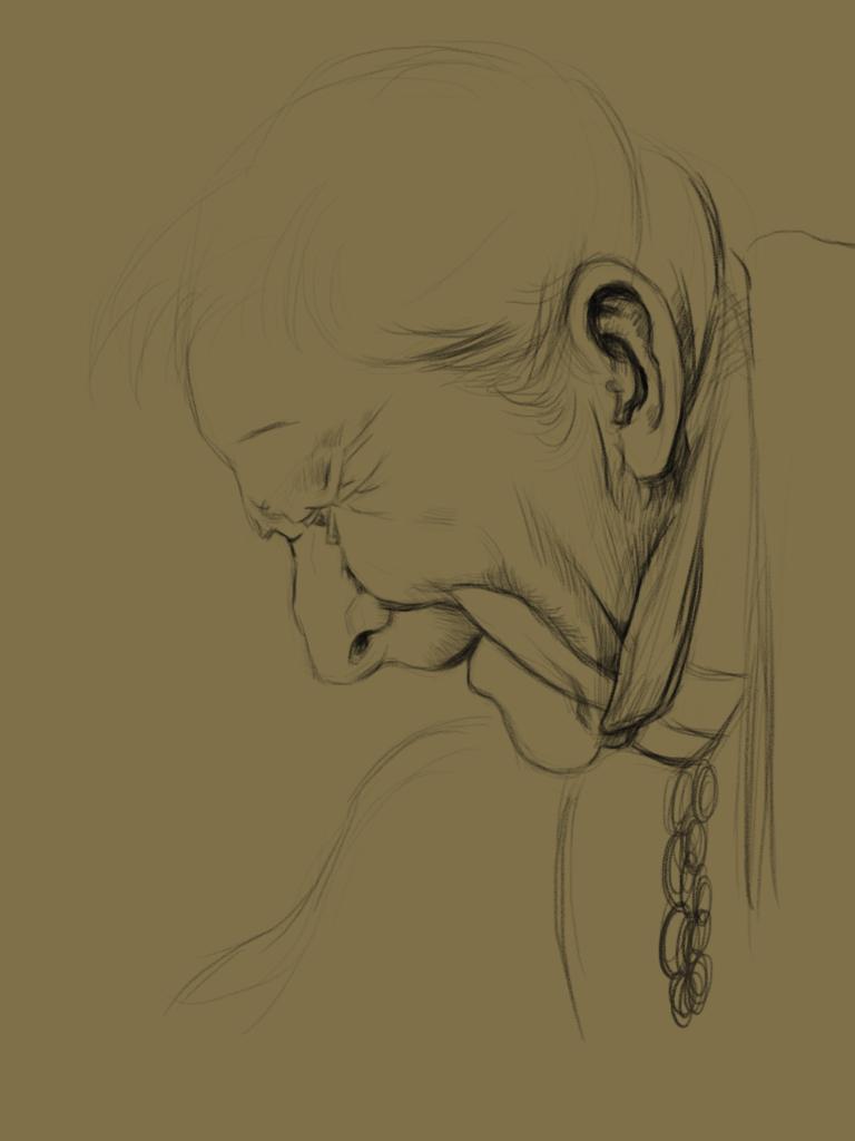 手繪板臨摹門采爾的素描